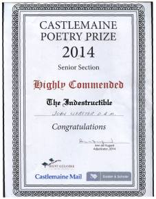 2014 Castlemaine Poetry Prize Highly Commended -named