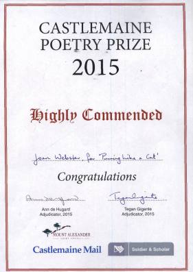 2015 Castlemaine Poetry Prize -Highly Commended